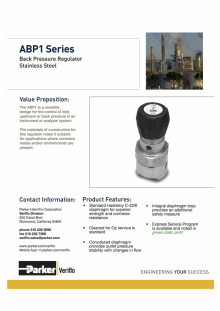Parker/Veriflo Back Pressure Regulators