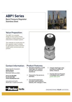 Parker Veriflo Back Pressure Regulators
